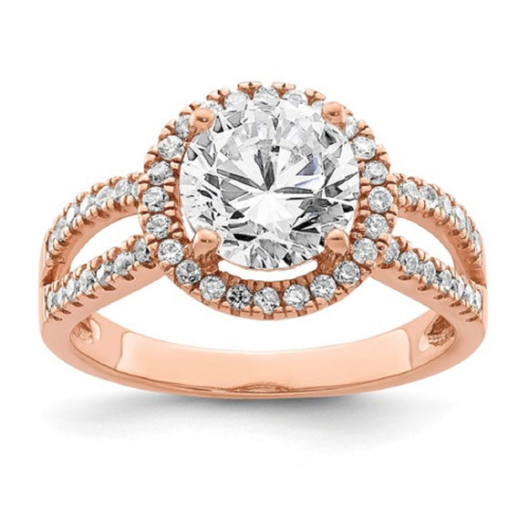 Faux and Fabulous™ 2.50 Ct. Round CZ Infinity Shank Halo Ring in Rose Gold Plate or Sterling - Roxx Fine Jewelry