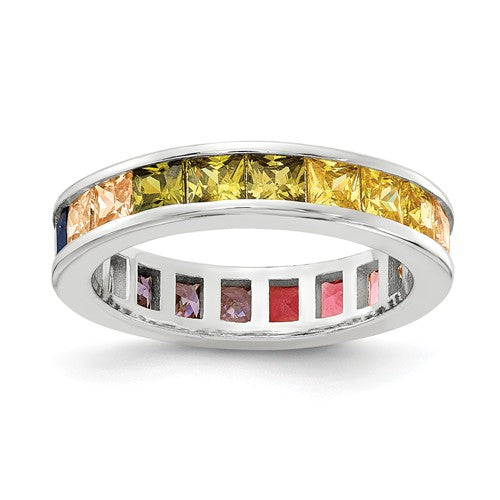 Prizma™ Rainbow CZ Sterling Silver Eternity Ring