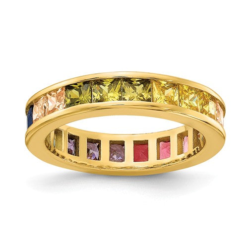Prizma™ Rainbow CZ Gold Plated Eternity Ring - Roxx Fine Jewelry