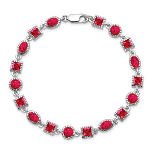 Princess and Oval Ruby 9.60 Ct Line Bracelet in Sterling Silver