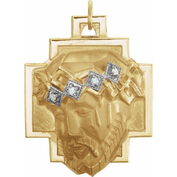 Face of Jesus Medal Pendant with Diamond Accents in 14K Yellow Gold - Roxx Fine Jewelry