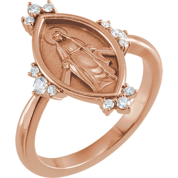 Virgin Mary Diamond Ring in 14K Rose, White or Yellow Gold - Roxx Fine Jewelry