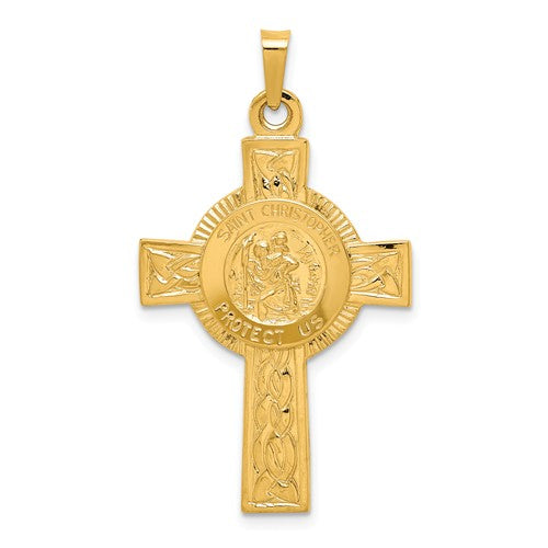 St. Christopher Cross with Center Medallion in 14K Yellow Gold