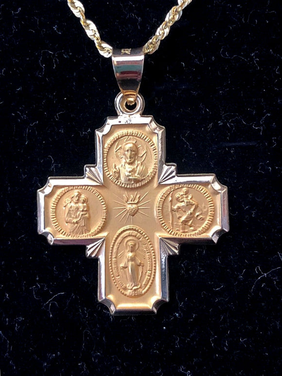 Four Way Cross Medal in 14K Yellow Gold 34 x 25mm - Roxx Fine Jewelry