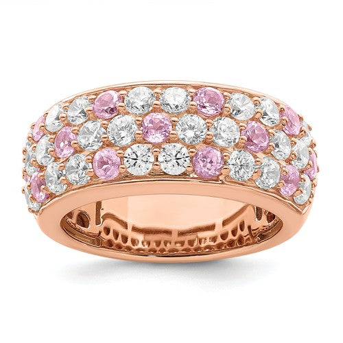 True Origin® 2.40 Ct. Lab Grown Diamond and Pink Sapphire Band in 14K Rose Gold
