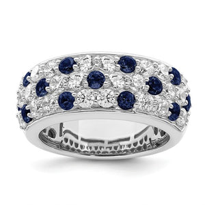 True Origin® 2.40 Ct. Lab Grown Diamond and Blue Sapphire Band in 14K White Gold