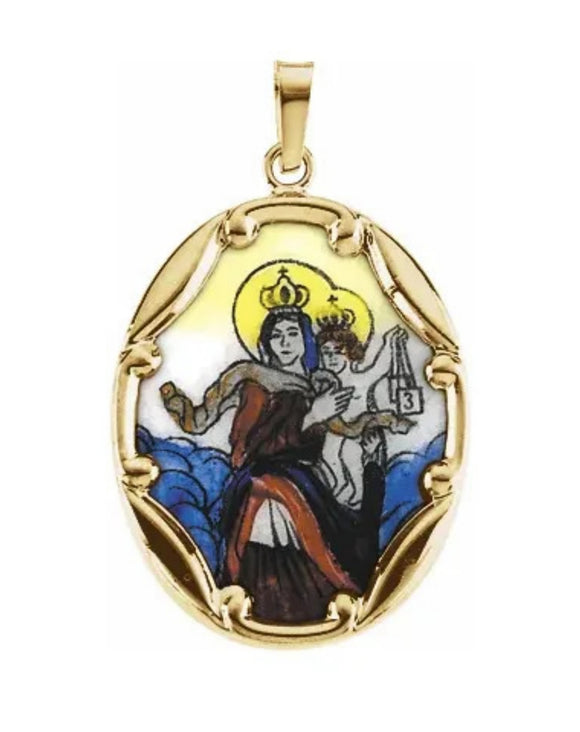 Scapular Medal in Painted Porcelain with 14K Yellow Gold Frame