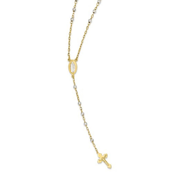 Two Tone Rosary Necklace in 14K White and Yellow Gold 4mm Diamond Cut Beads - Roxx Fine Jewelry