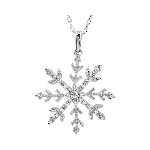 Snowflake CZ Accented Snowflake Necklace in Sterling Silver 18