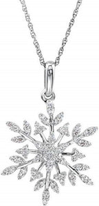 "Snowflake CZ Necklace in Sterling Silver 18"" Necklace - Roxx Fine Jewelry"