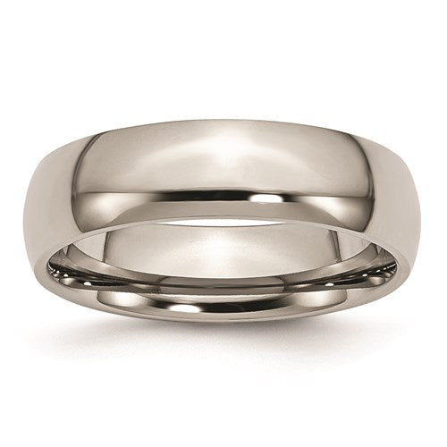 Polished Titanium 6mm Wide Half Round Comfort Fit Wedding Band - Roxx Fine Jewelry