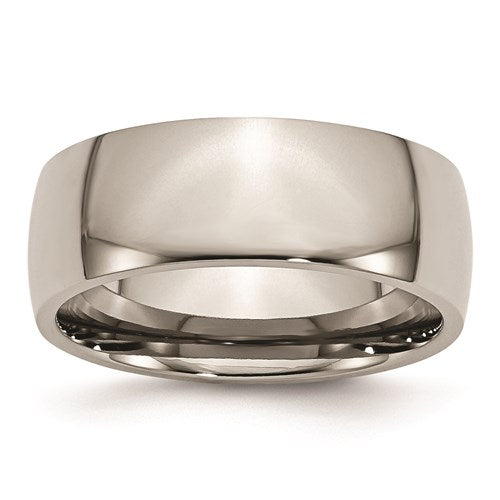 Polished Titanium 8mm Wide Half Round Comfort Fit Wedding Band - Roxx Fine Jewelry