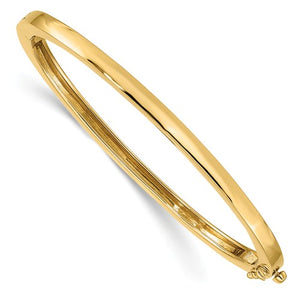 Hinged Oval Bangle Bracelet 3.6mm in 14K Yellow Gold - Roxx Fine Jewelry