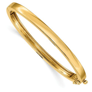 Hinged Oval Bangle Bracelet 5.3mm in 14K Gold - Roxx Fine Jewelry