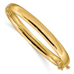 7.7mm Hinged Oval Bangle in 14K Gold - Roxx Fine Jewelry