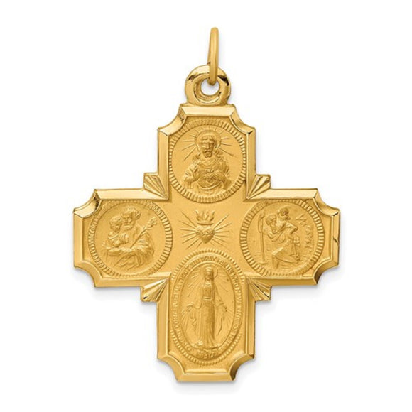 Four Way Cross Pendant 37 x 27mm Satin Finish Polished Edge in 14K Yellow Gold - Roxx Fine Jewelry