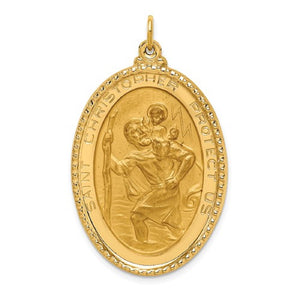 St. Christopher Medal 40 x 24mm Large Oval in 14K Yellow Gold - Roxx Fine Jewelry