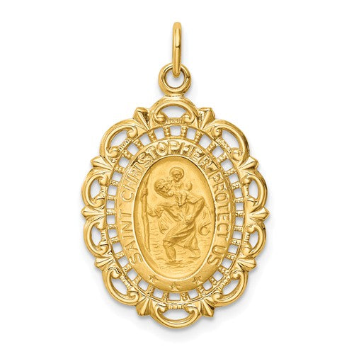 St. Christopher Medal Oval with Filigree Frame in 14K Yellow Gold