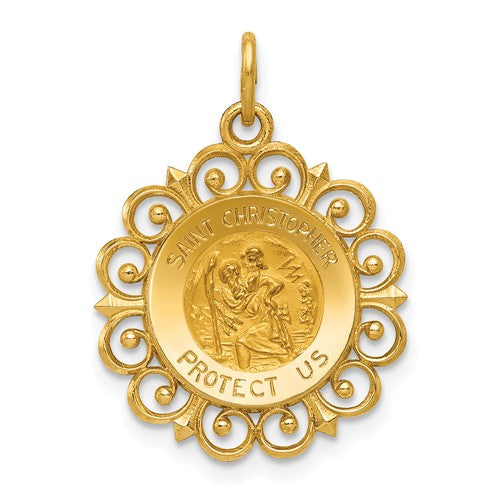 St. Christopher Medal Charm in 14K Yellow Gold