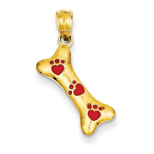 Dog Bone Pendant with Red Paw Prints in 14K Yellow Gold