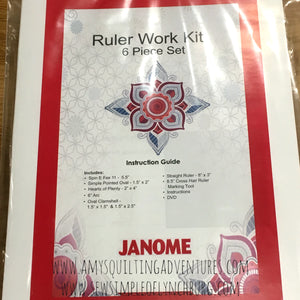 Janome ruler work kit with 6 templates for high shank machines for quilting with rulers