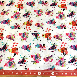 Bright Birds Coordinating Fabric: Birds and Dots