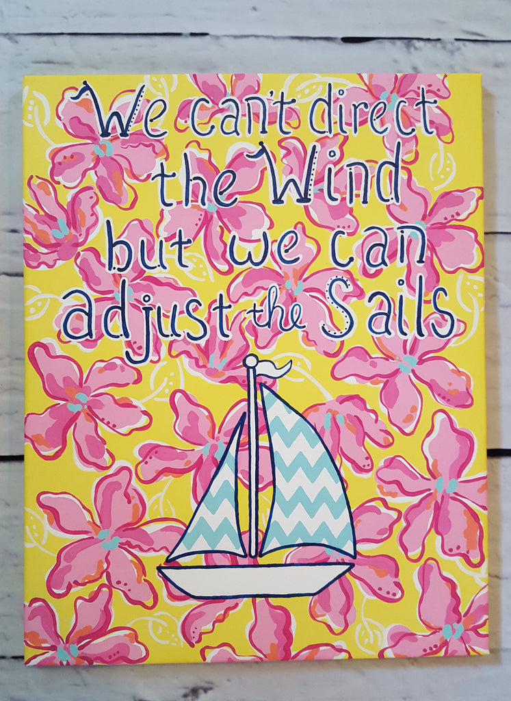 "Inspirational Nautical Quote ""We Can't Direct the Wind but We Can Adjust Our Sails"" Canvas Art"