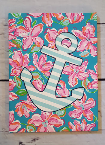 Nautical Anchor Inspired by Lilly Pulitzer Lucky Charm Print Canvas Wall Art