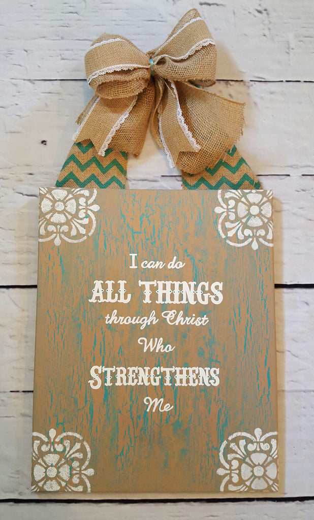Rustic Inspirational Quote I Can Do All Things Through Christ Who Strengthens Me Canvas Wall Art Painting