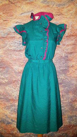 Act 1 Vintage Ruffle Stand Up Collar Flutter Sleeve Dress Green Pink XS S