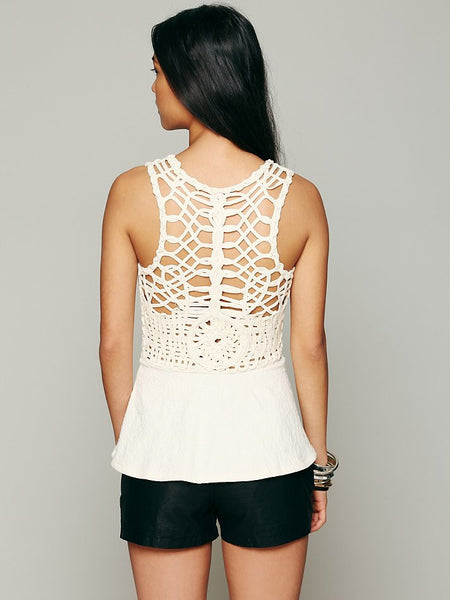 Free People  AFFAIRS IN VERSAILLES Cut Out Lattice Back Peplum Top Ivory S