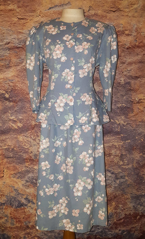 Amy-Deb Vintage Ruffle Peplum Chambray Floral 2-Piece Dress Suit L 16