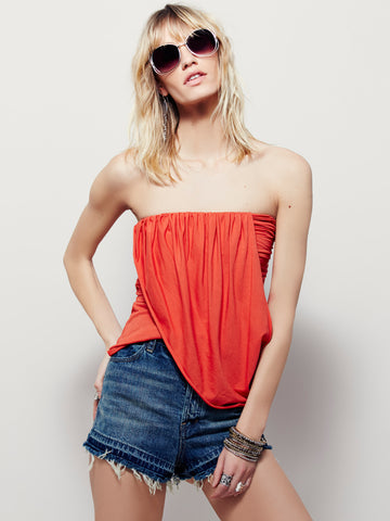 Free People Ana Draped Jersey Tube Top Fiesta Red S