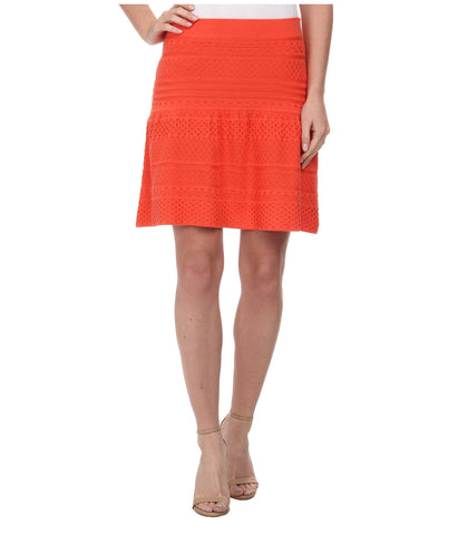 BCBG MAXAZRIA Anea Pointelle Peplum Fit N Flare Skirt Ambrosia Orange L