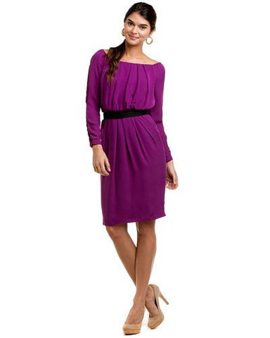 Anne Klein Off Shoulder Blouson Pin-tucked Silk Dress Dark Berry
