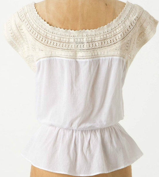 Anthropologie HD In Paris Dove's Wing Shell Boho Crotchet Peasant Top S 4