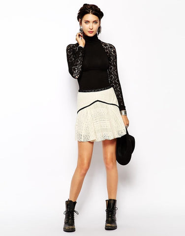 Free People Apple Of My Eye Crochet Lace Black Ivory Bohemian Mini Skirt S 6