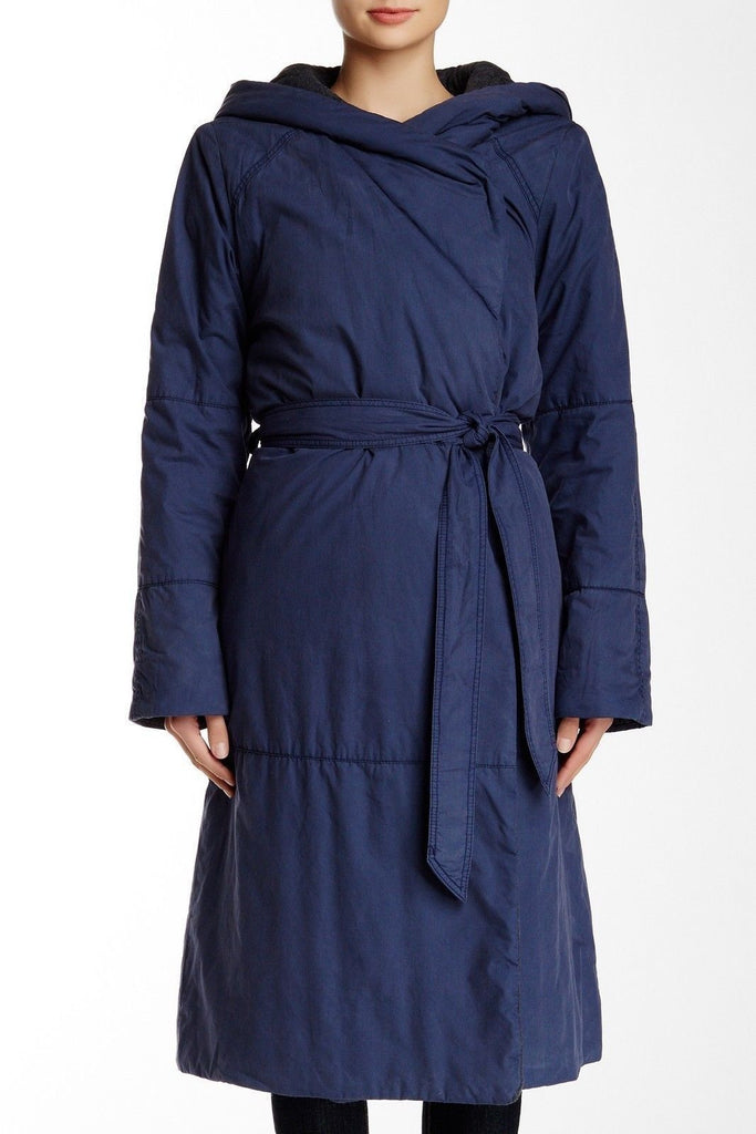 Free People Art to Wear Hooded Quilted Poplin Blanket Long Coat Navy Blue L