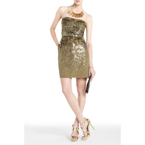 BCBGMAXAZRIA Atalaya Silk Sequin Strapless Cocktail Holiday Dress Strapless