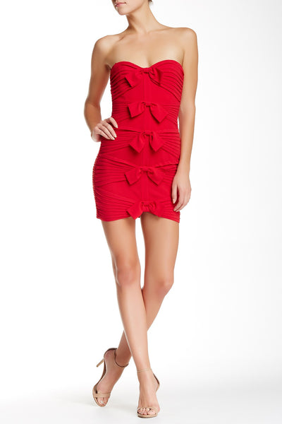 BCBG MAX AZRIA Sabrinna Red Bow Tie Ruched Holiday Party Cocktail Dress M 10