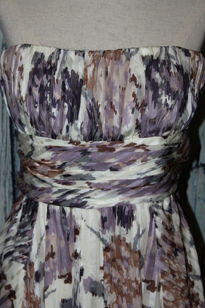 BCBG Maxazria Strapless Watercolor Pastel Pleated Silk Bubble Dress M 8