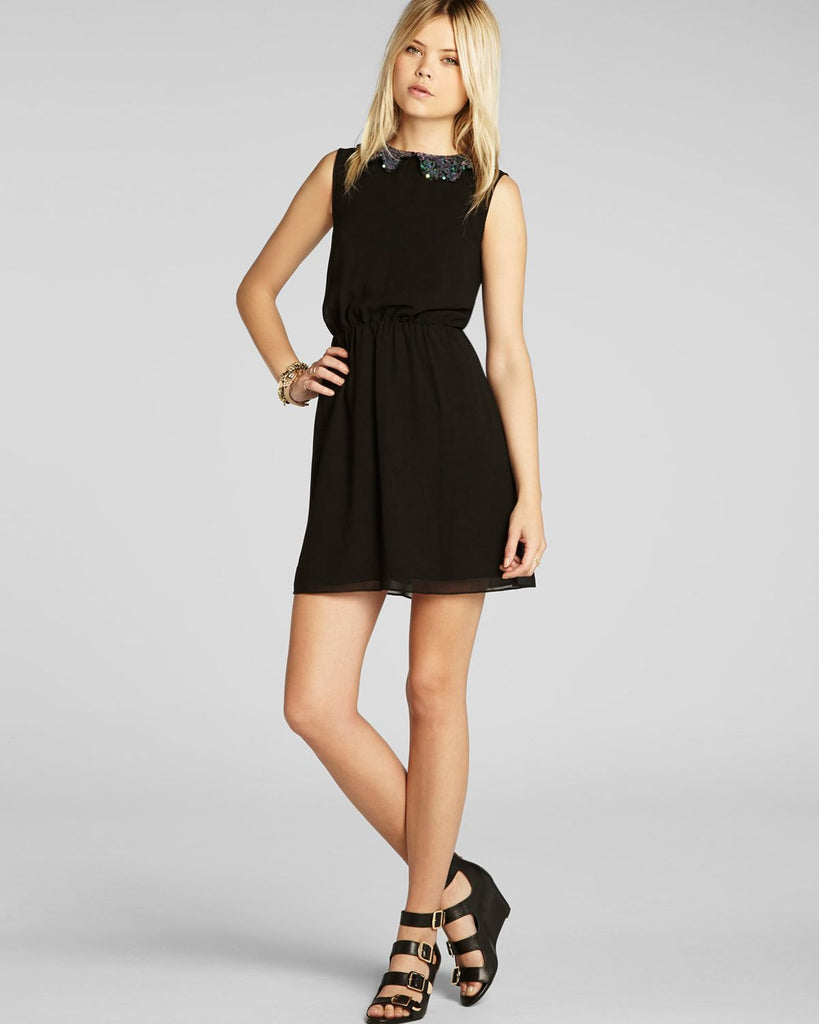 BCBGeneration Sequin Scallop Peter Pan Collar Chiffon Dress Black
