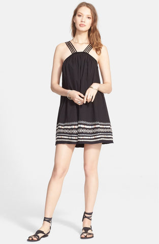 Free People Batiste Kashmir Embroidered Trapeze Tent Dress Black M