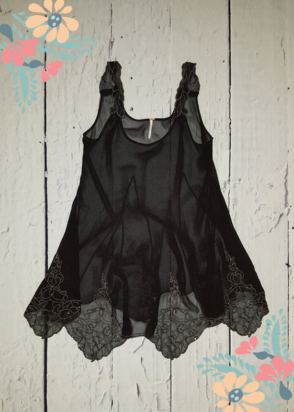 Free People Black Beads For Days Swing Embroidered Sheer Tunic Dress S