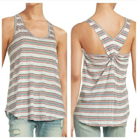 Free People Best Night Linen Blue Red Striped Knotted Twist Back Tank Top