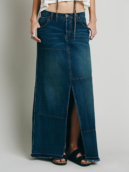 Free People Leann Patchwork Raw Hill Denim Maxi Skirt