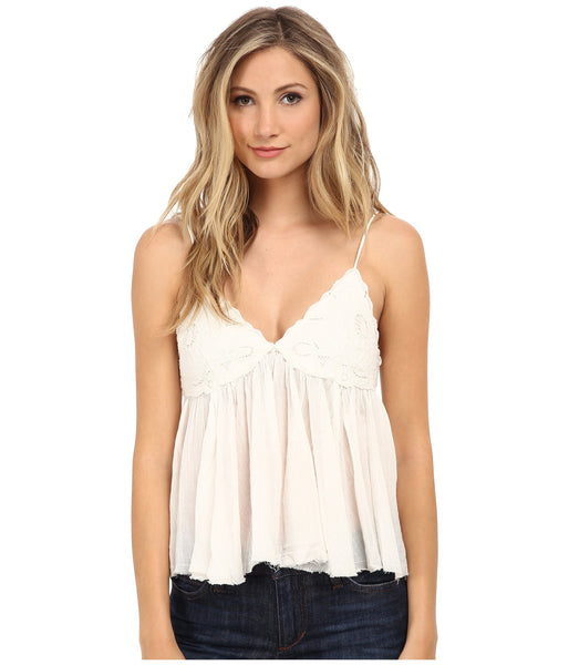 Free People Birds in the Sky Embroidered Semi Sheer Crepe Cami Tank