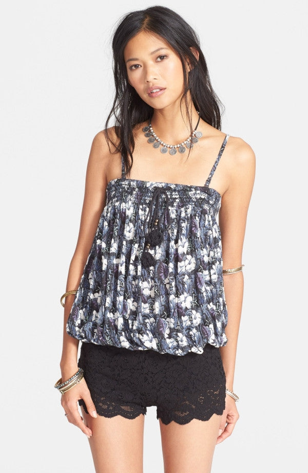 Free People Midnight Blue Combo Linen Tropical Floral Bodega Tube Top S M L