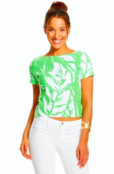 Lilly Pulitzer Target Boom Boom Ponte Crop Top Green White Scoop Back M