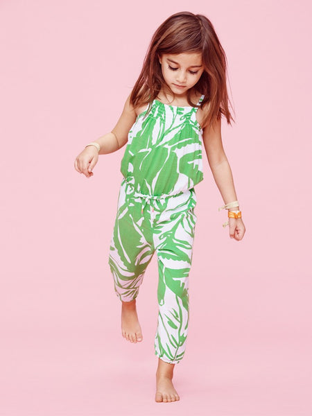 Lilly Pulitzer Target Girls Green Palm Leaf Boom Boom Romper Jumpsuit XS 4 5